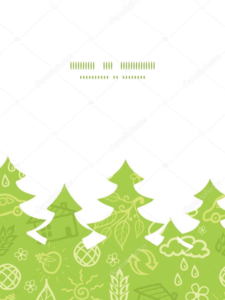 vector environmental christmas tree silhouette pattern frame card