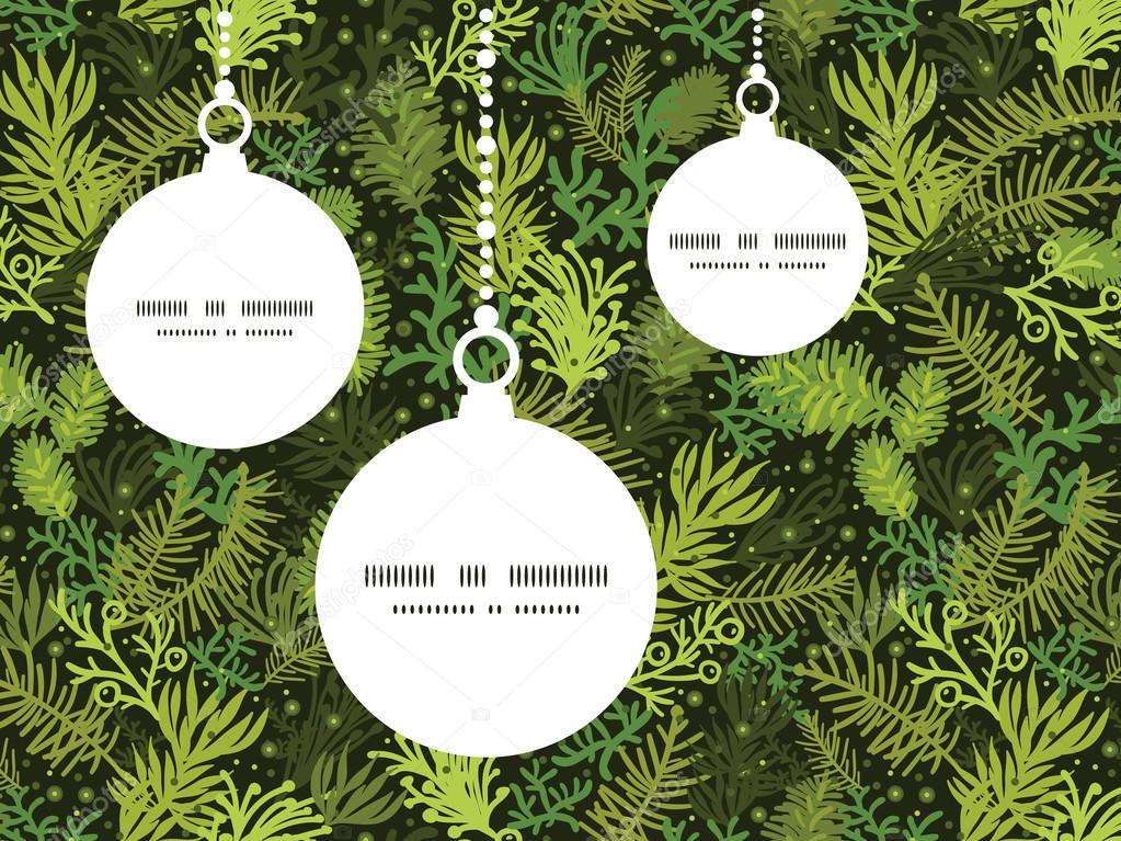 Vector evergreen christmas tree Christmas ornaments silhouettes ...