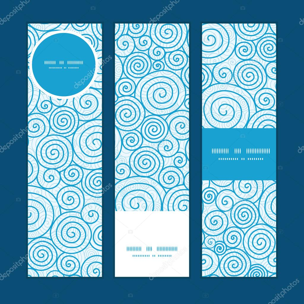 Vector abstract swirls vertical banners set pattern background