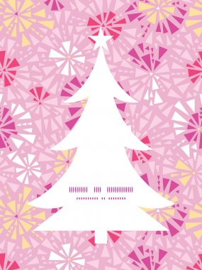Vector pink abstract triangles Christmas tree silhouette pattern frame card template