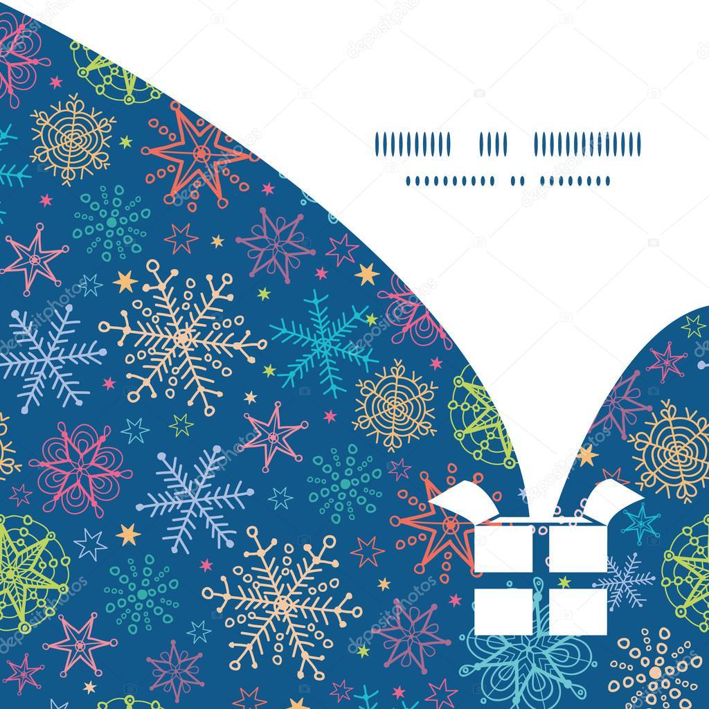 Vectores colorido doodle copos de nieve Navidad regalo caja silueta ...