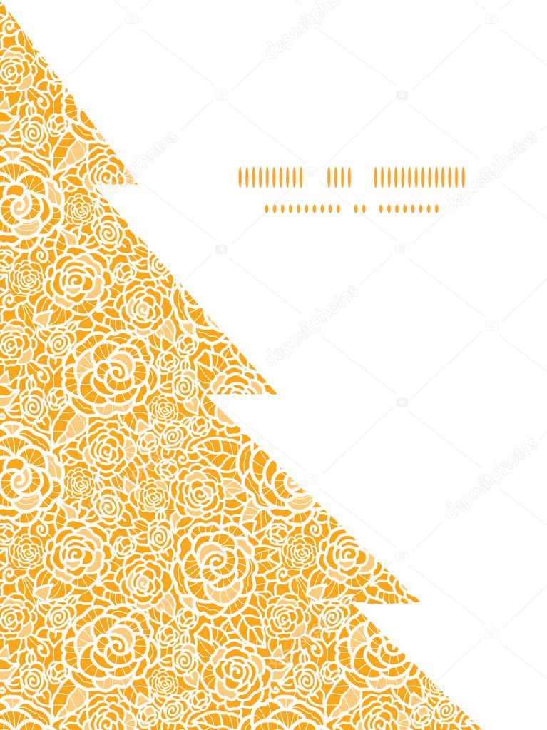 Vector golden lace roses Christmas tree silhouette pattern frame card template