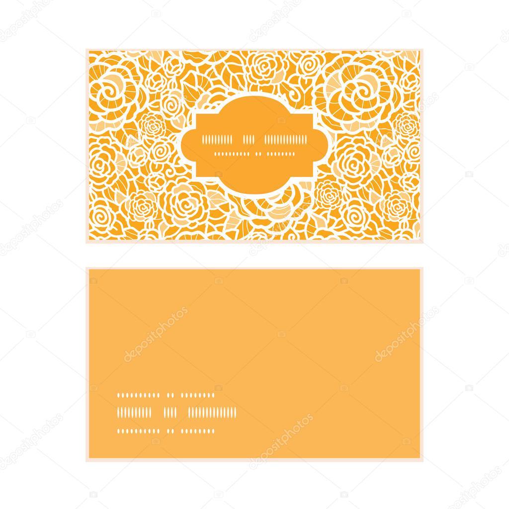 La Valeur Vector Dentelle Or Roses Cadre Horizontale Modele Cartes De Visite Illustration Stock