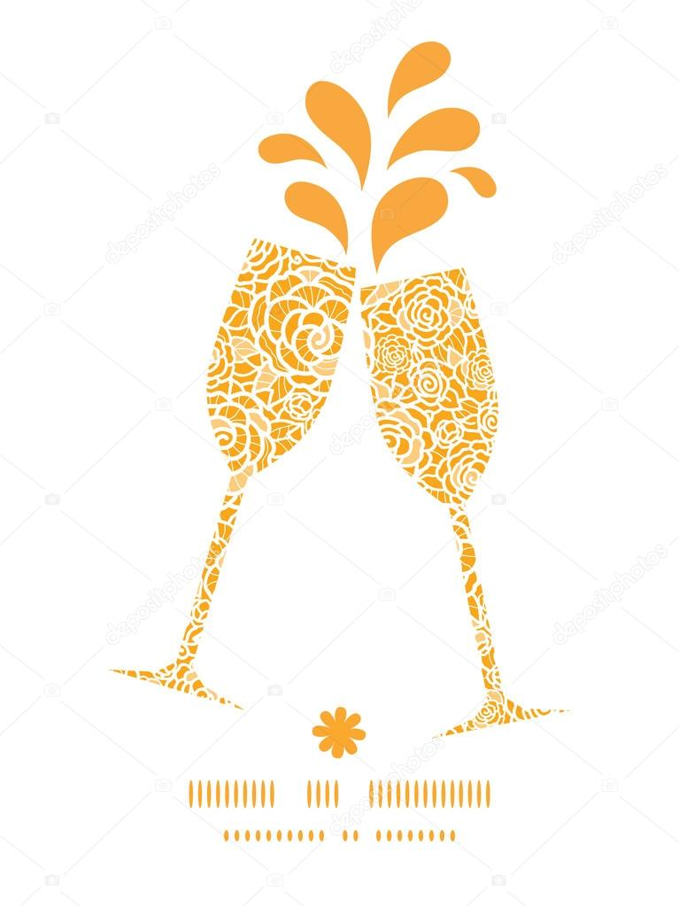 Vector golden lace roses toasting wine glasses silhouettes pattern frame