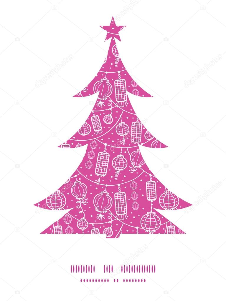 Vector Holiday Lanterns Line Art Christmas Tree Silhouette Pattern