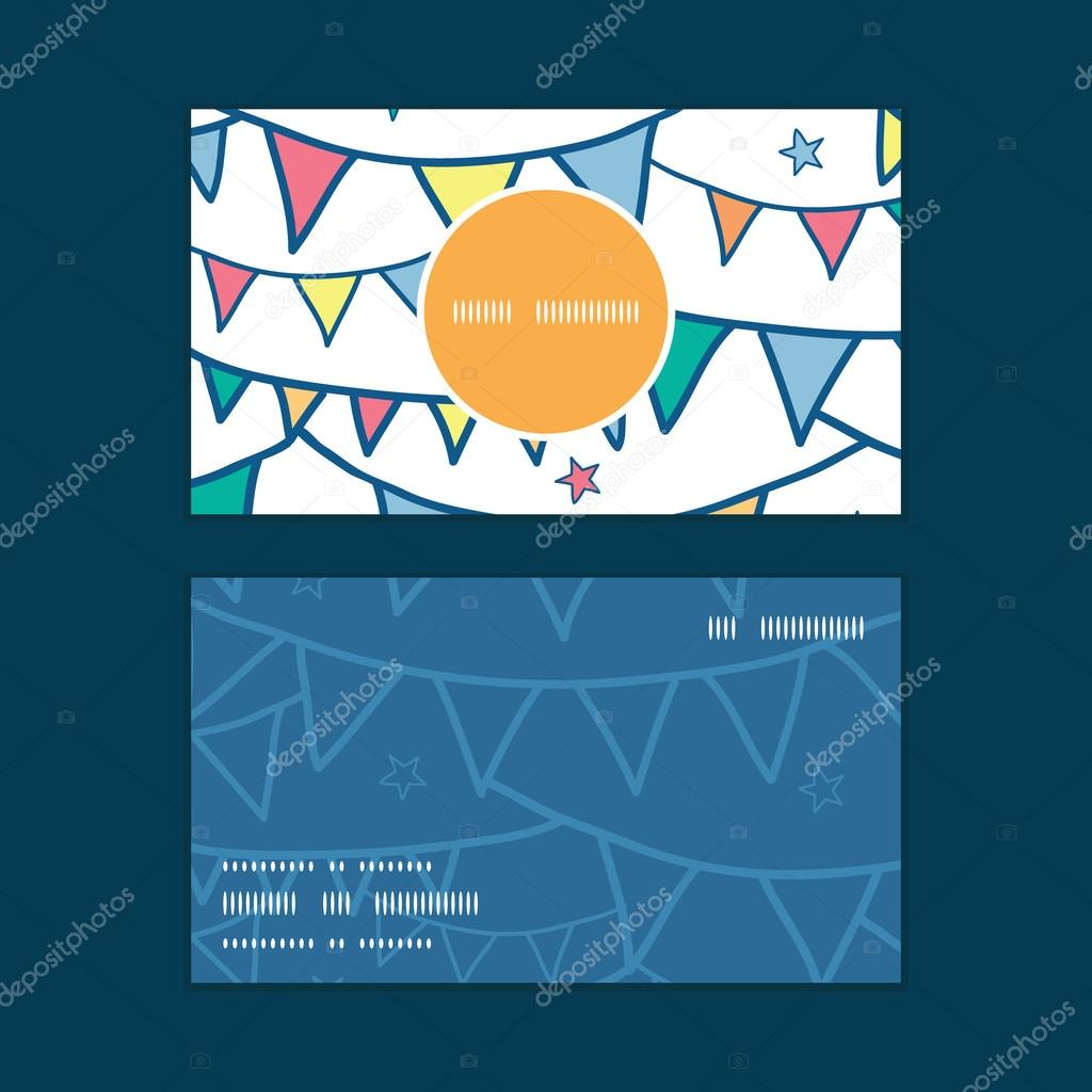 Vector colorful doodle bunting flags vertical round frame pattern business cards set