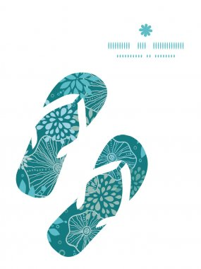 Vector blue and gray plants flip flops silhouettes pattern frame