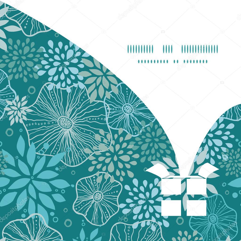 Blaue und graue Pflanzen Weihnachten Geschenk Box Kontur Muster ...
