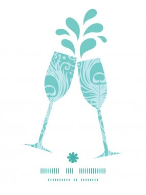 Vector soft peacock feathers toasting wine glasses silhouettes pattern frame