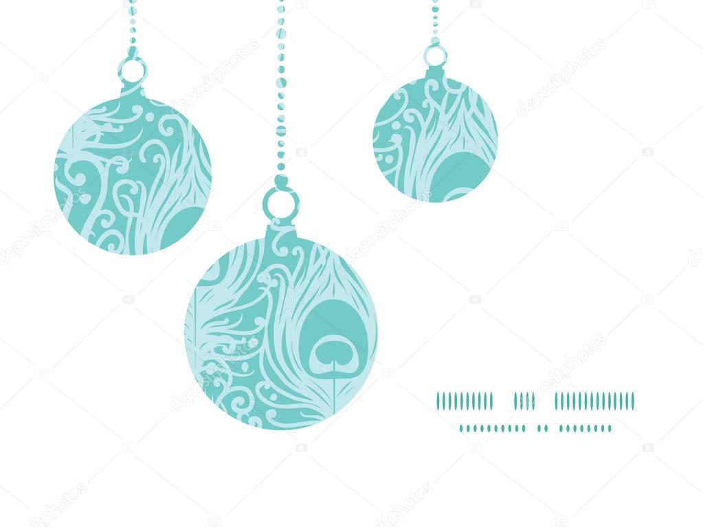 Vector soft peacock feathers Christmas ornaments silhouettes pattern frame card template