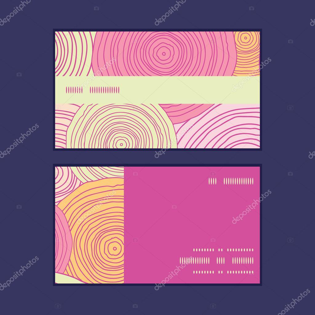 Vector doodle circle texture horizontal stripe frame pattern business cards set