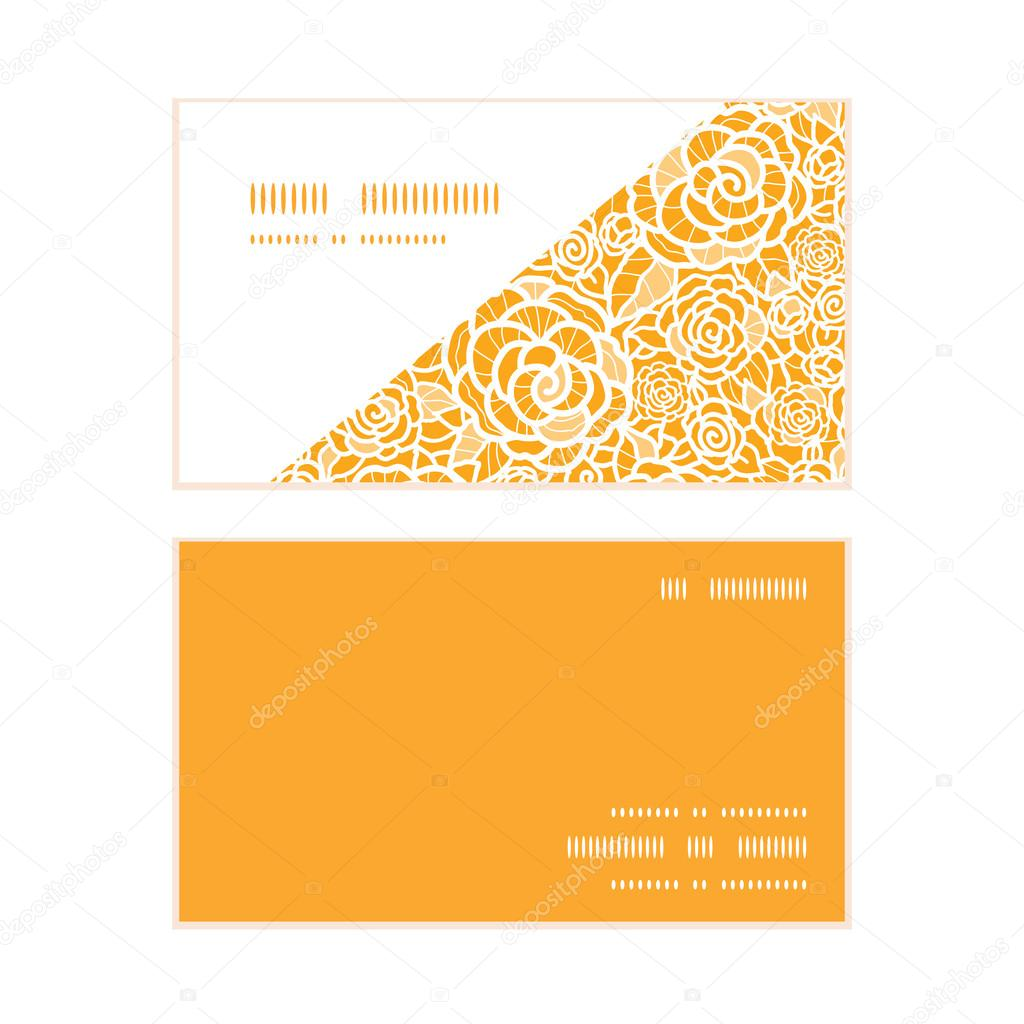 Vector golden lace roses horizontal corner frame pattern business cards set