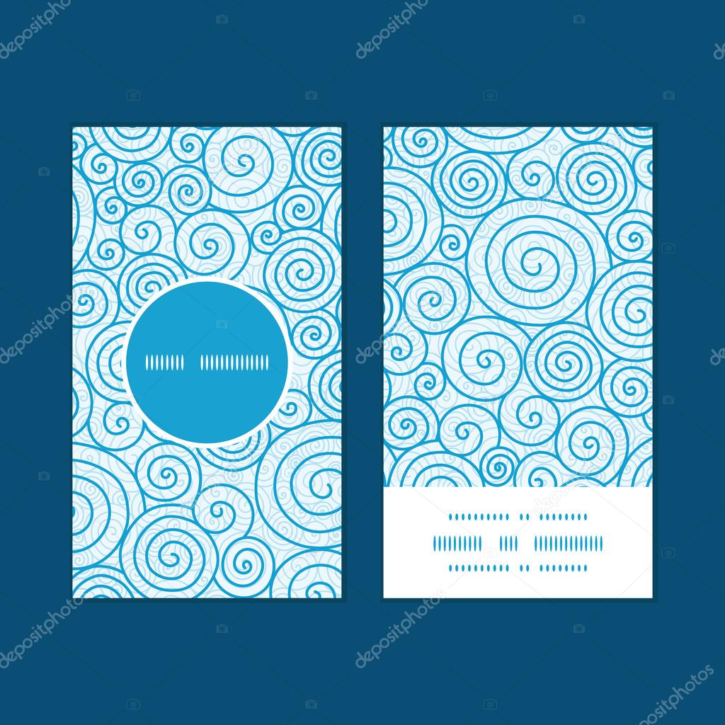 Vector abstract swirls vertical round frame pattern business cards set