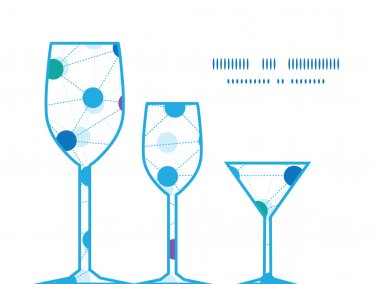 Vector connected dots three wine glasses silhouettes pattern frame