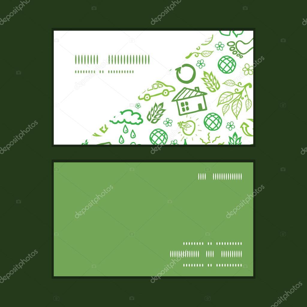Vector ecology symbols horizontal corner frame pattern business cards set