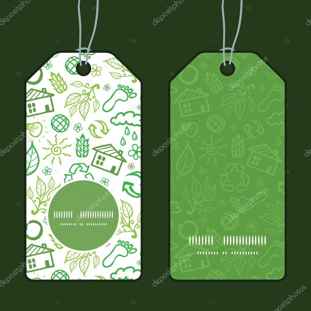 Vector ecology symbols vertical round frame pattern tags set