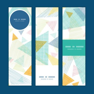 Vector abstract fabric triangles vertical banners set pattern background