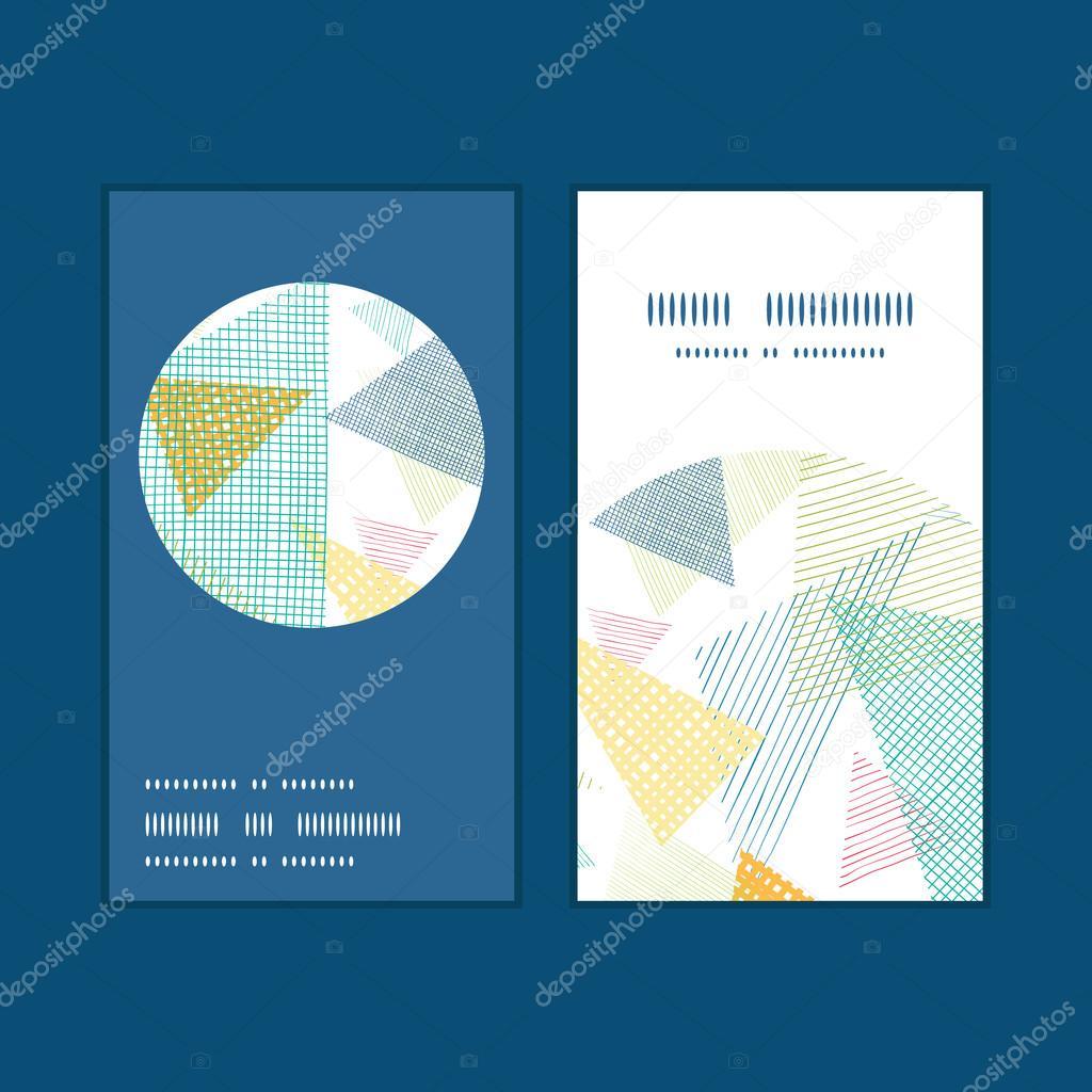 Triangles De Tissu Abstraite Vecteur Vertical Rond Cadre Motif Jeu Cartes Visite Image