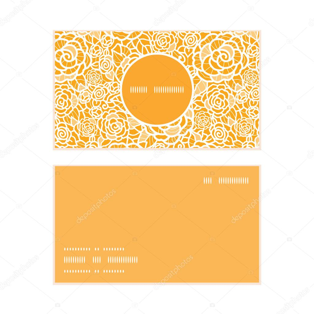 Vector golden lace roses vertical round frame pattern business cards set