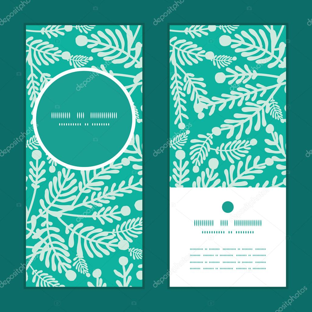Vector emerald green plants vertical round frame pattern invitation greeting cards set
