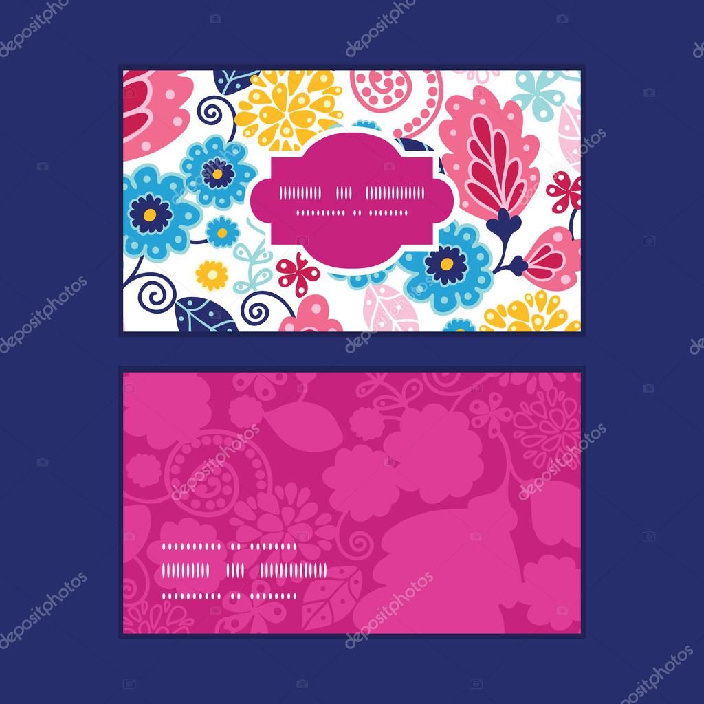 Vector fairytale flowers horizontal frame pattern business cards set