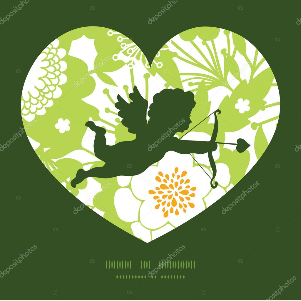 Vector Green and Golden Garden Silhouettes Shooting Cupid Silhouette Frame Pattern Invitation Greeting Card Template