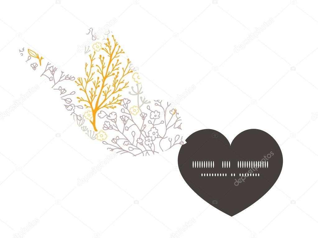 Vector magical floral birds holding heart silhouette frame pattern invitation greeting card template