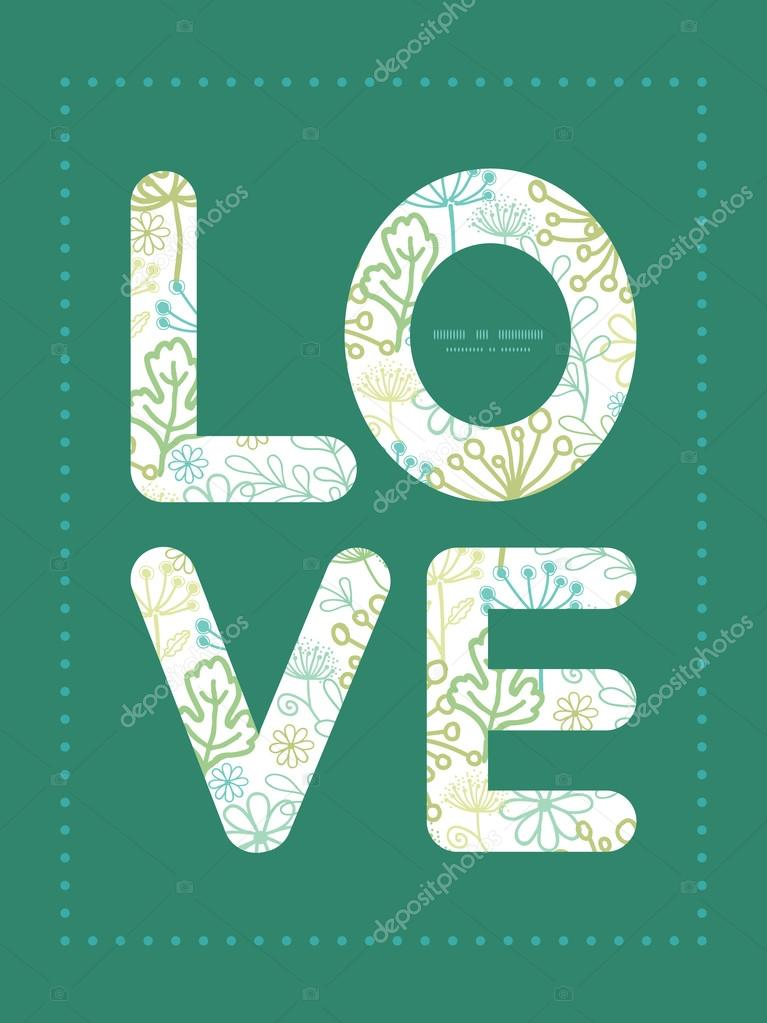 Vector mysterious green garden love text frame pattern invitation greeting card template