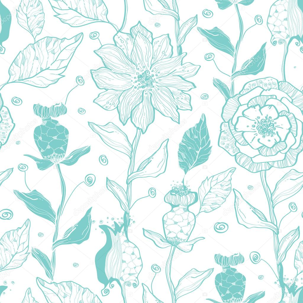 Vector aqua lineart flowers seamless pattern background