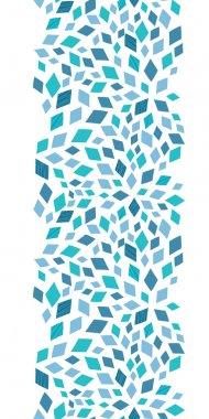 Vector blue mosaic texture vertical border seamless pattern background