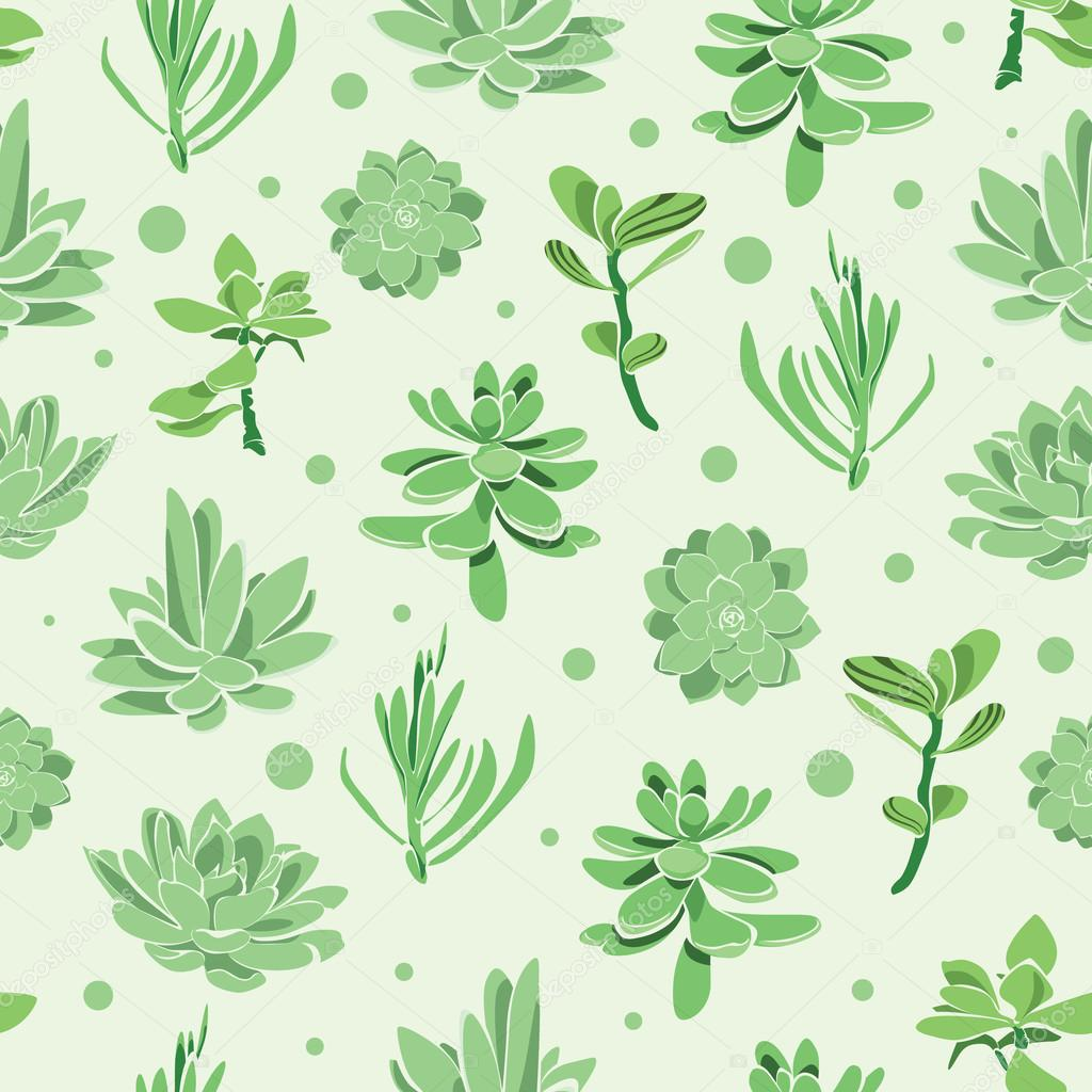 Vector succulent garden seamless pattern background