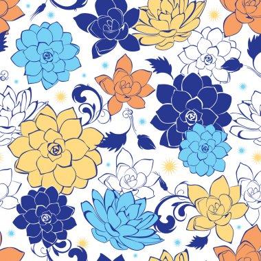 Vector blue gold flowers seamless pattern
