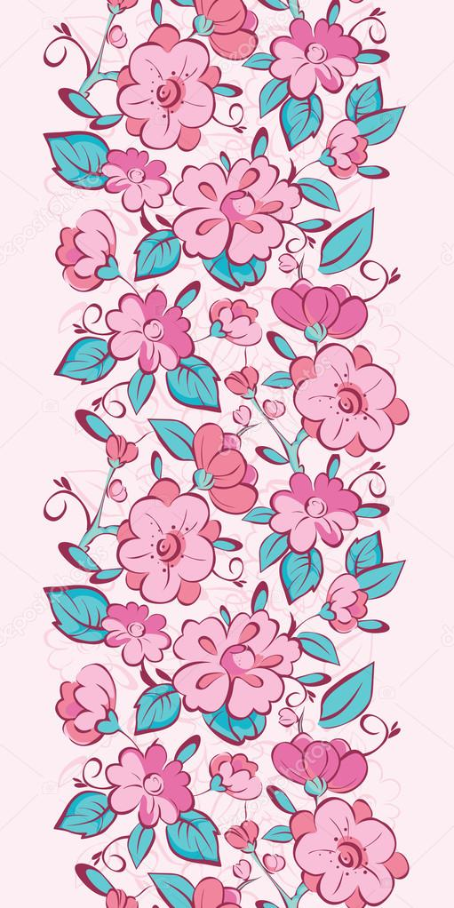 Vector pink blue kimono flowers vertical border seamless pattern background