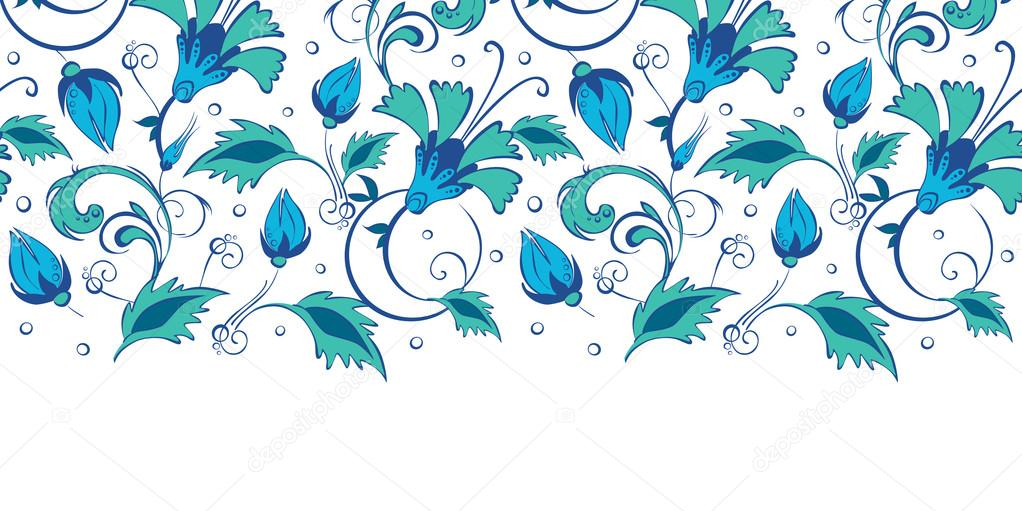 Vector blue green swirly flowers horizontal border seamless pattern background