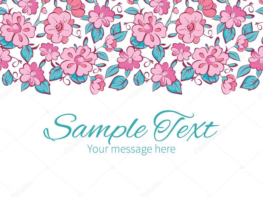 Vector pink blue kimono flowers horizontal border greeting card invitation template