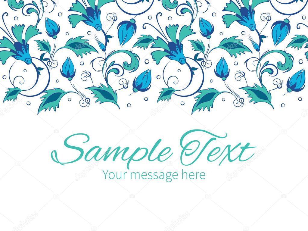 Vector blue green swirly flowers horizontal border greeting card invitation template
