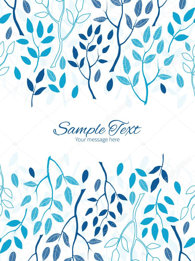 Vector blue forest vertical double borders frame invitation template