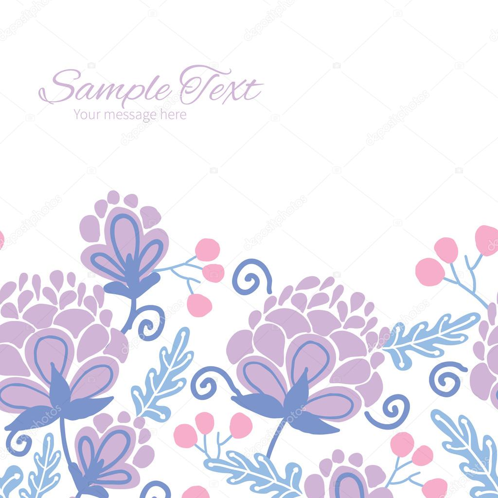 Vector soft purple flowers horizontal frame seamless pattern background