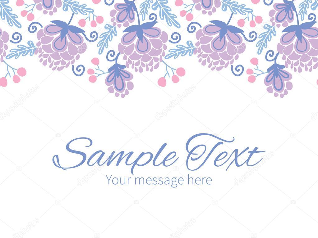 Vector soft purple flowers horizontal border greeting card invitation template