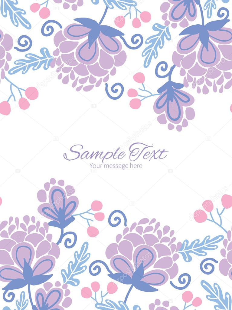 Vector soft purple flowers vertical double borders frame invitation template