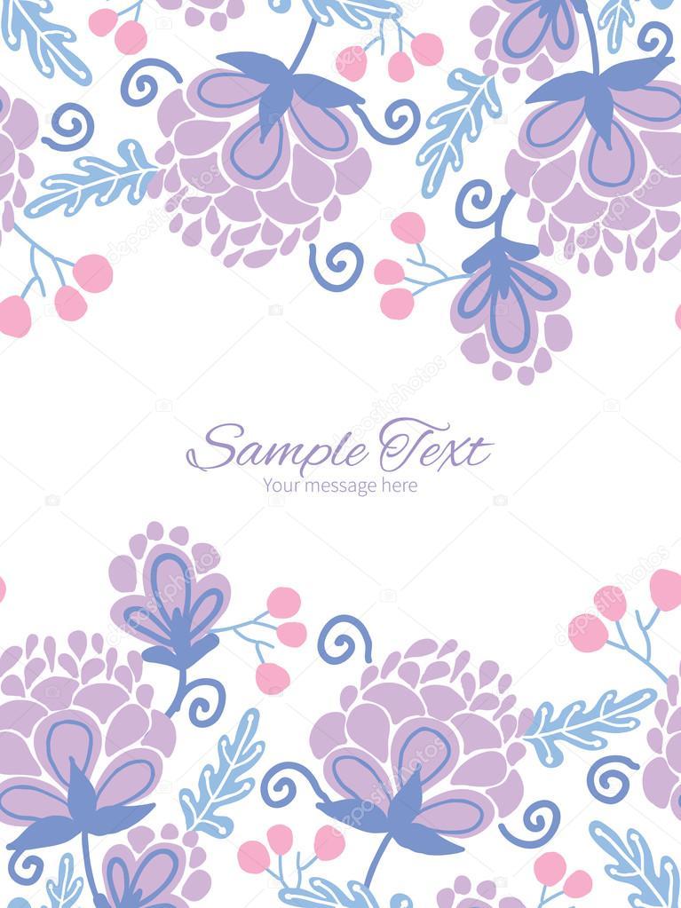 Plantilla de invitación de vector flores púrpuras suaves bordes ...