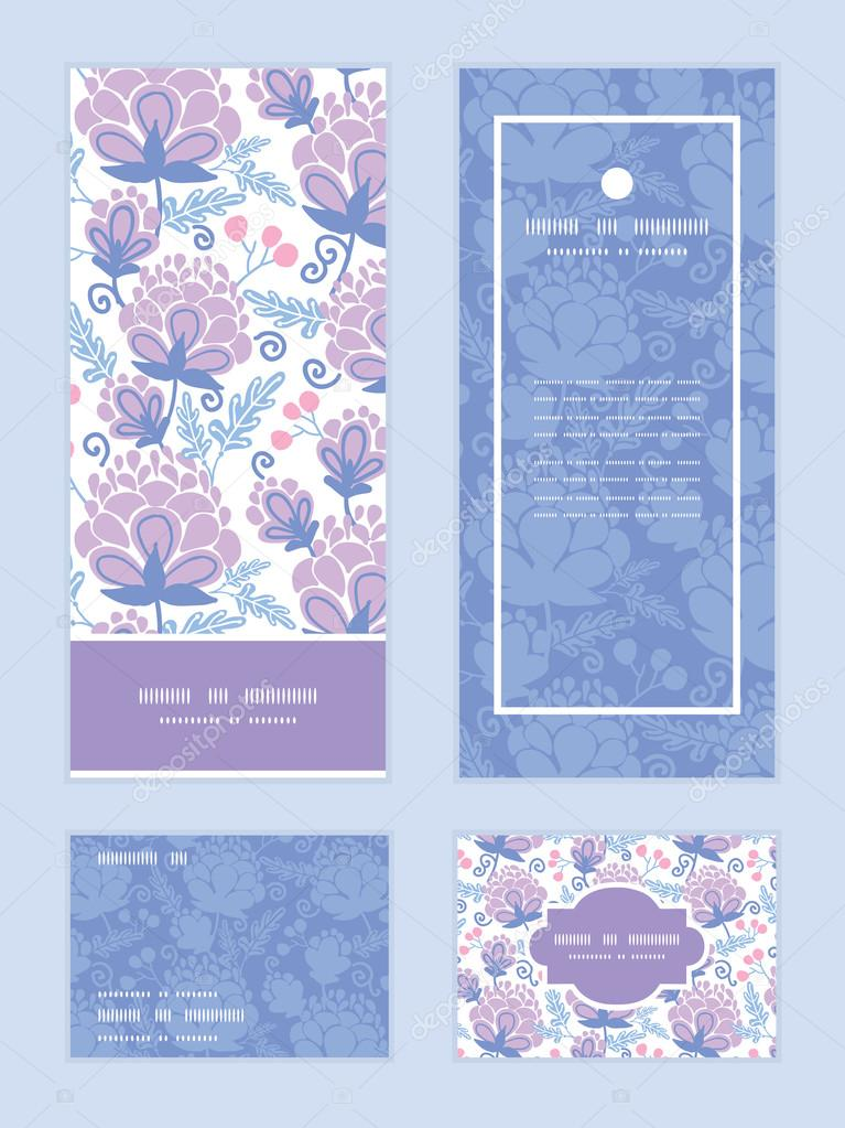 Vector soft purple flowers vertical frame pattern invitation greeting, RSVP and thank you cards set