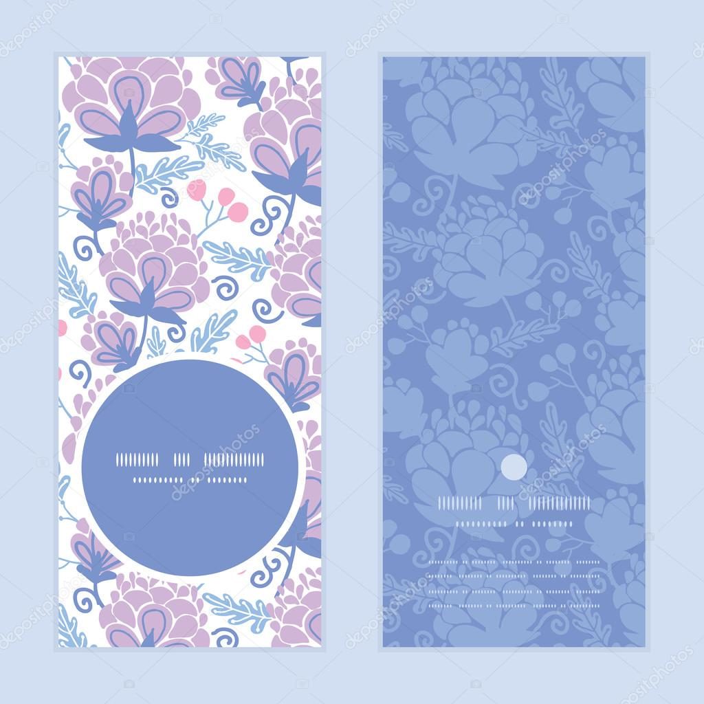Vector soft purple flowers vertical round frame pattern invitation greeting cards set