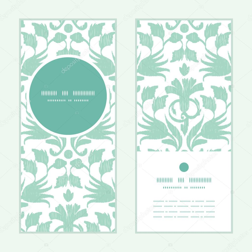 Vector abstract green ikat vertical round frame pattern invitation greeting cards set