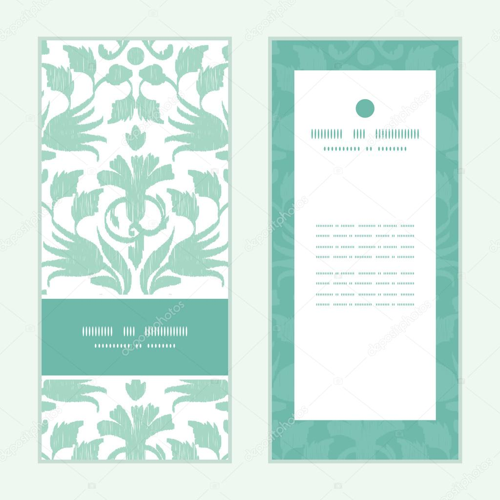 Vector abstract green ikat vertical frame pattern invitation greeting cards set