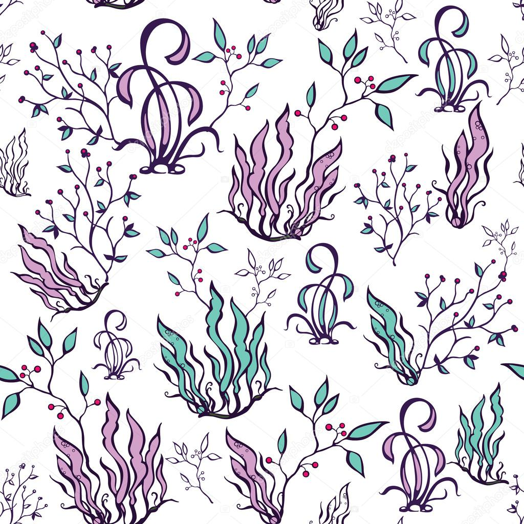 Vector Purple Green Seaweed Seamless Pattern