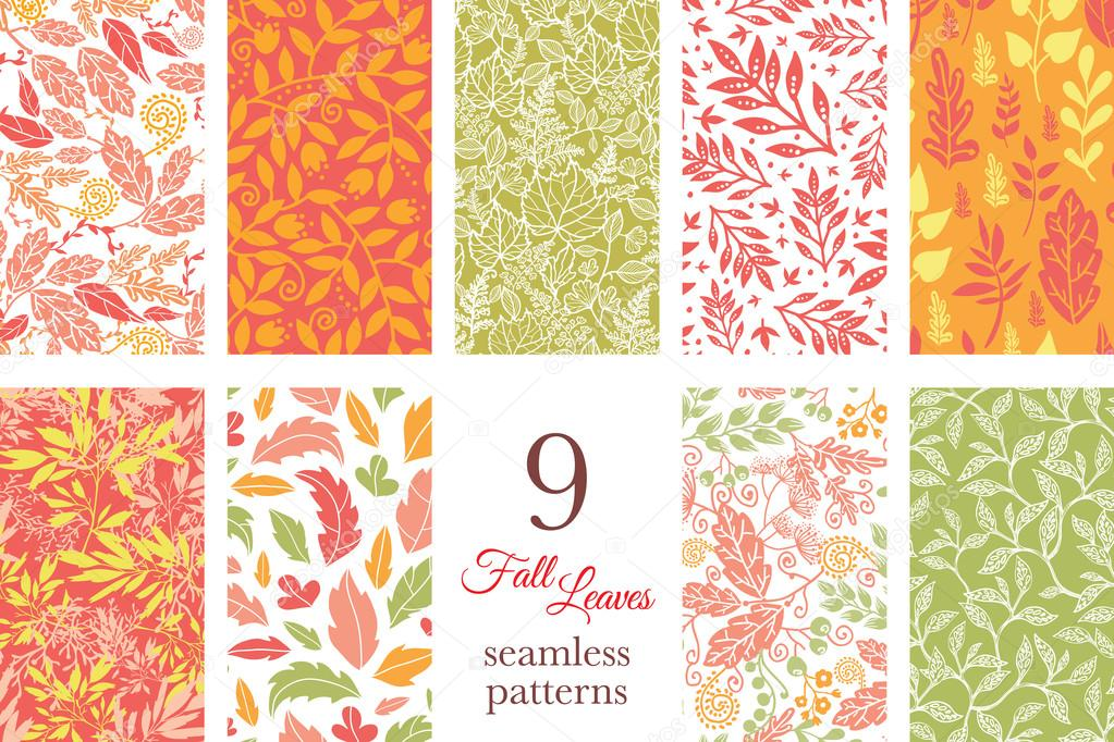 Vector Fall Leaves Nine Set Seamless Patterns