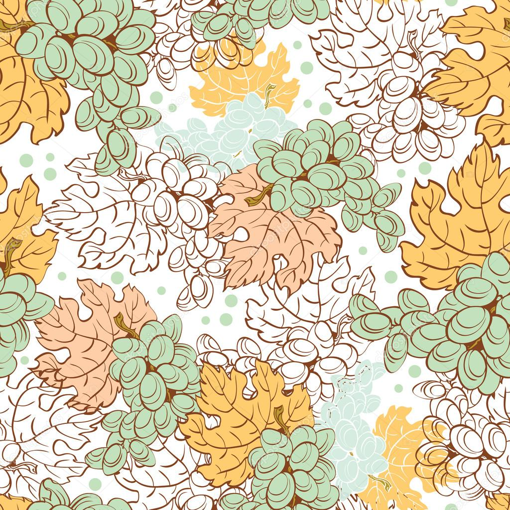 Vector Fall Grapes Harvest Seamless Pattern. Wine pastel leaf. Ripe fruit.
