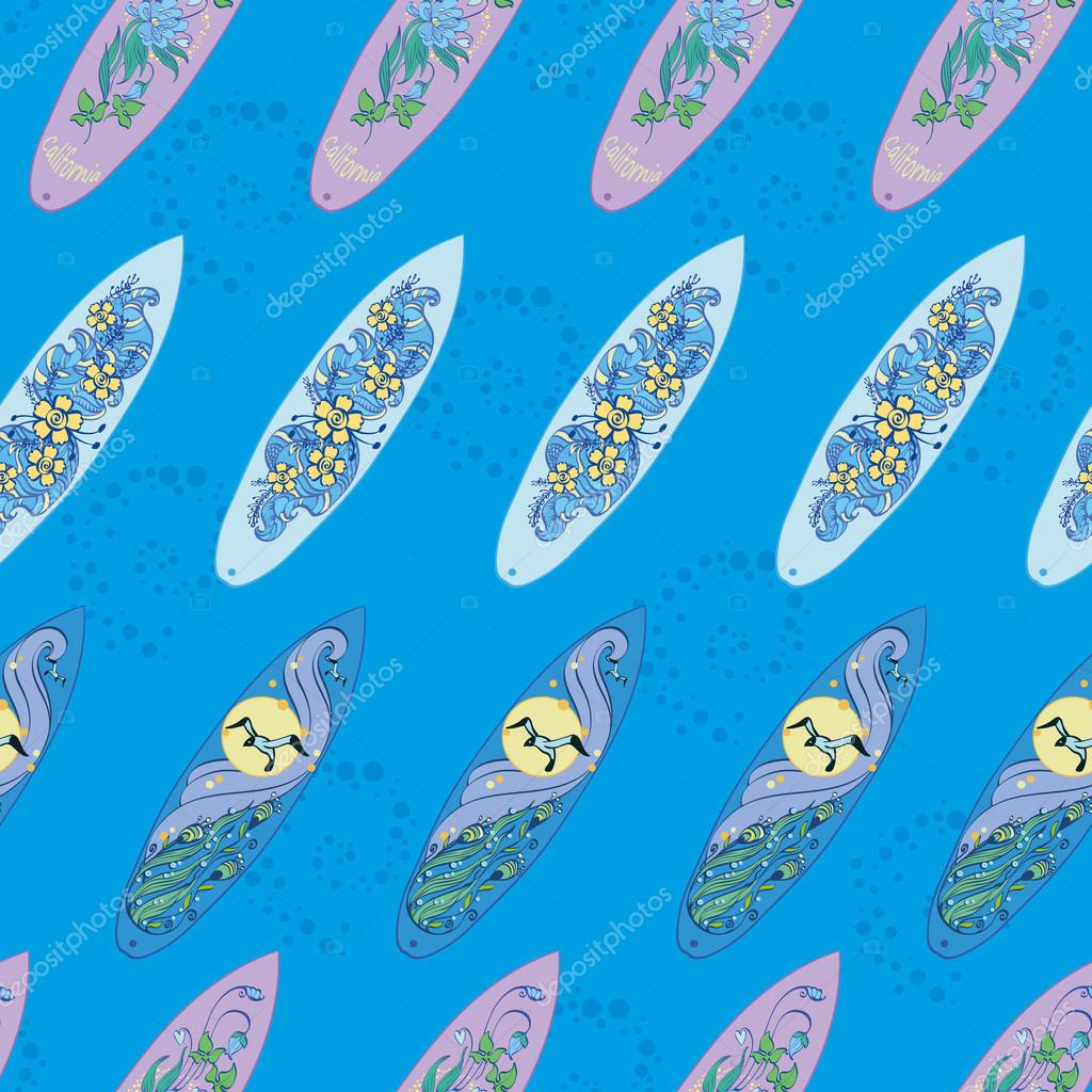 Vector Diagonal Surfboards On Blue Water Seamless Pattern. Exotic, sport, board, Hawaii, wave, seagull.