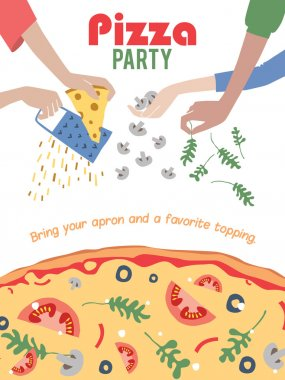 Vector Pizza Party Invitation Poster Flyer. Dinner. Social Event. Invite. Italian. Bring Your Own Topping.